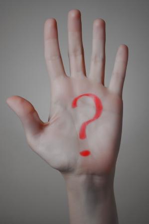Rotes Fragezeichen auf die Frau gezeichnet Standard-Bild - 19861882