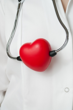 Doctor with a red heart and stethoscope