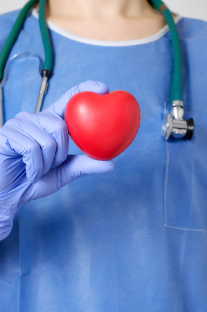 cardiosurgery: Red heart in the hand of a doctor Stock Photo