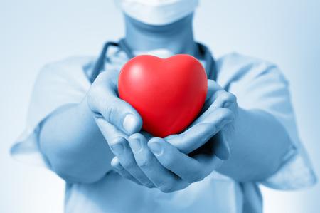 hipertension: Doctor de sexo femenino que sostiene una forma de corazón rojo Foto de archivo