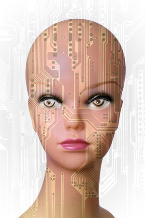 mannequin head: Double exposure of a mannequin head and a circuit board Stock Photo