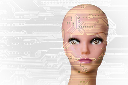 technological evolution: Double exposure artificial Intelligence concept with copyspace Stock Photo