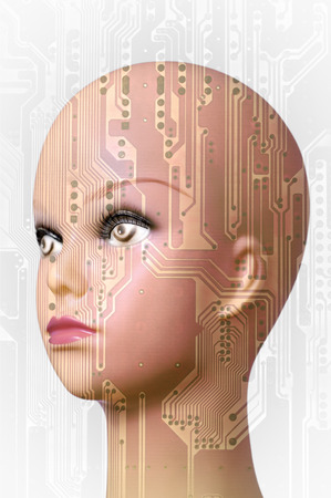 mannequin head: Double exposure artificial Intelligence concept, mannequin head and circuit board