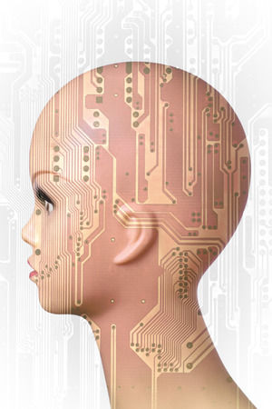 technological evolution: Double exposure artificial Intelligence concept, mannequin head and circuit board