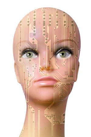 technological evolution: Double exposure artificial Intelligence concept, mannequin head with circuit board pattern