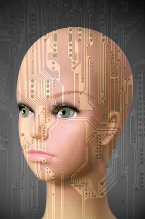 mannequin head: Double exposure artificial Intelligence concept, mannequin head with circuit board pattern
