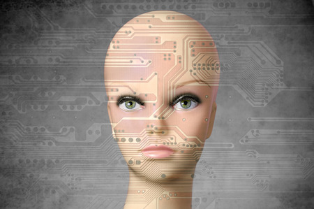 mannequin head: Double exposure artificial Intelligence concept, mannequin head with human eyes