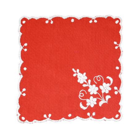 embroidered: Embroidered red and white tablecloth isolated on white background Stock Photo