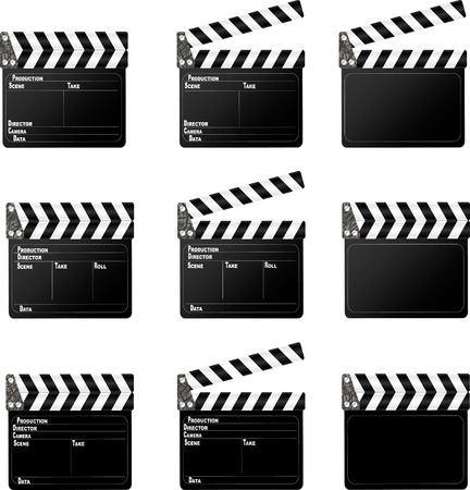 clap: Movie clapper  Set of movie clap board on white background