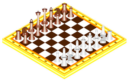 chess board: Chess on chess board  The starting positions of the chess pieces on the chess board Illustration