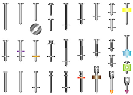 clout: Steel nails  Set of metal nails for concrete and a brick  Nails to a pistol on white background  Illustration