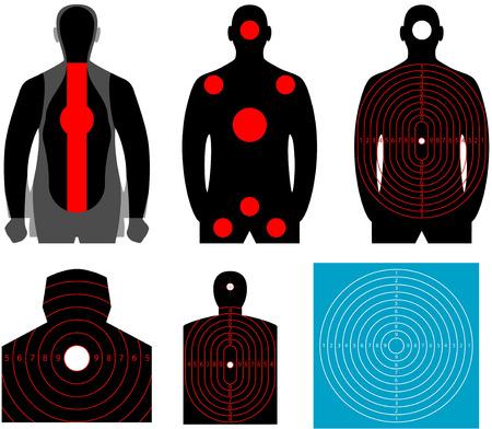 hombre disparando: Target Silueta humana Conjunto de blanco humano El objetivo para disparar a una silueta de un hombre en el fondo blanco Vectores