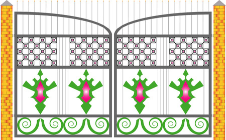 grill pattern: Gate  Illustration with decorated gate isolated on white background