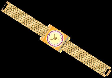 Gouden horloge met klassieke gouden polsbandje modern horloge op zwarte achtergrond