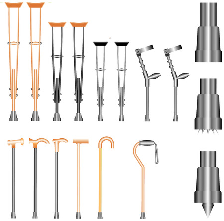 walking stick: Set of orthopedic equipment  crutches, walking sticks  on white background