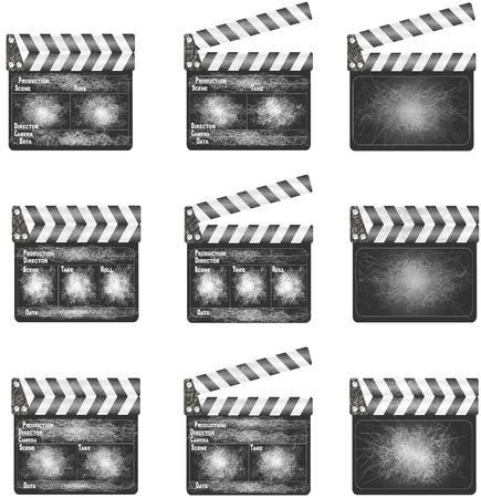 movie clapper: Vecchio film batacchio Una serie di schede batacchio di film, spesso in uso, su sfondo bianco Vettoriali