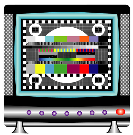 Test signal  Animated television test  TV set with multicolor signal test pattern  Vector