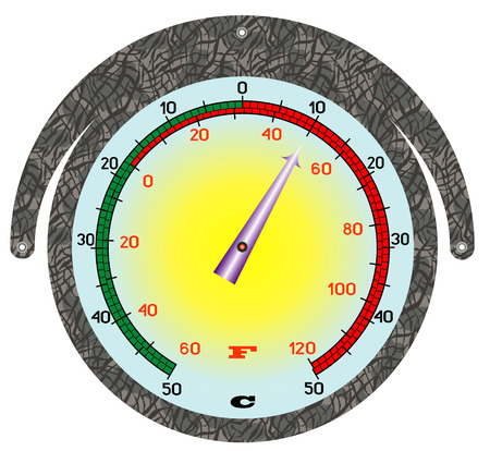 frigid: The round iron thermometer  Street thermometer under the white background