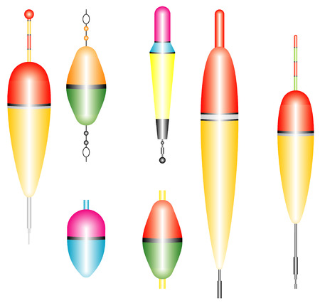 bobber: Collection of fishing floats  Set of fishing floats  Fishing bobber  Fishing floats on a white background