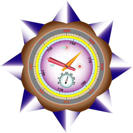 impending: Barometer for determination of weather on isolated on a white background