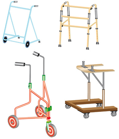 Walking frame  Metal walker used to assist when walking for support and security  Illustration