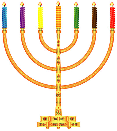 Golden Menorah  Ornate golden menorah with candles on a white background Vector