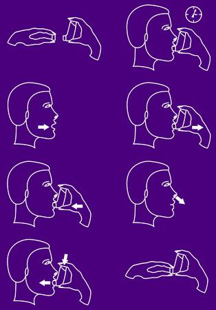 asthma inhaler: Inhaler for asthma, breathing asthmatic medicine health-care inhaler Illustration
