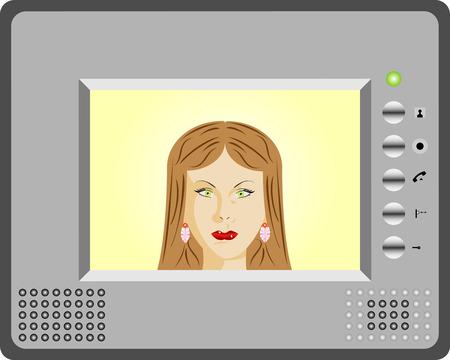 Citofono con display video Donna utilizzando un citofono
