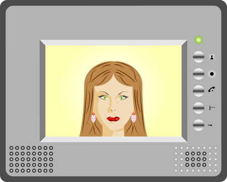 using voice: Intercom with video display  Woman using an intercom