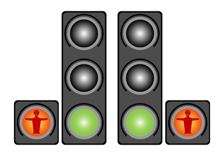 precedence: Traffic light for people  Isolated on white background