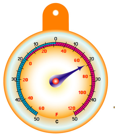 frigid: Round street thermometer measuring hot and cold temperature