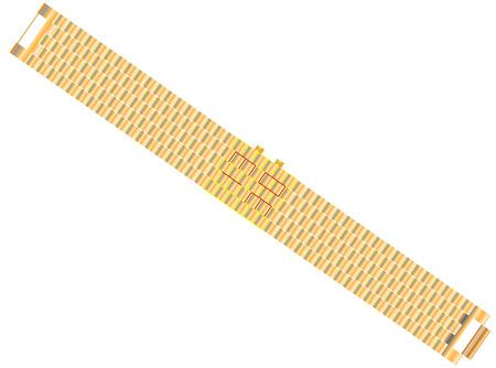 Led watch Gold bracelet with Led Digital Light-emitting diode hours 向量圖像
