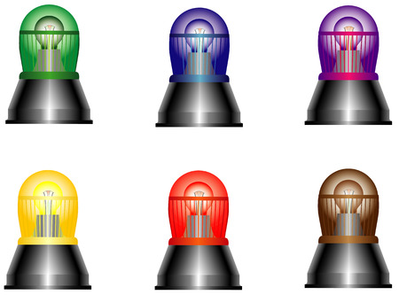 Flash lights  Siren real  Flashing lights in various colors, symbol for alert, warning and emergency, 6 colors Vector