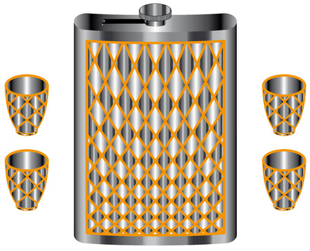 hip flask: Hip flask and cups isolated on white background Illustration