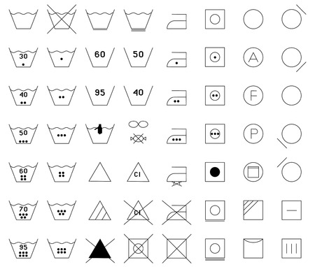 lozenge: Icon Set  Set of washing symbols   black and white  , care label icon set