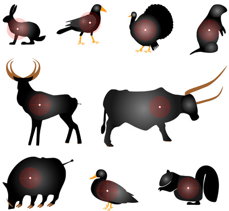 targets: Targets Set  Animals Targets Set  Set of Animals Paper Targets on white background