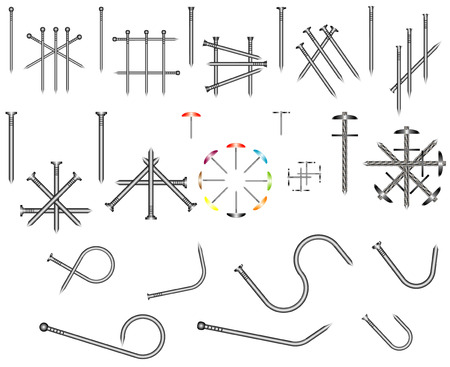 lowbrow: Set of steel nails  Common nails are used for general construction purpose  Illustration