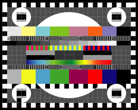 test pattern: Color card  Test TV screen, animated television test  Illustration