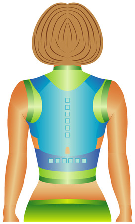 achy: Magnetic Back and Shoulder Support utilizes form-fitting straps and twelve strategically placed magnets to help correct poor posture by gently pulling the shoulders back, pain relief for an achy back Illustration