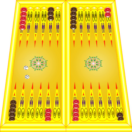 backgammon: Backgammon board with dices and checker in starting position  Illustration