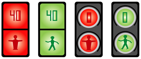 Traffic light of pedestrians on a white background
