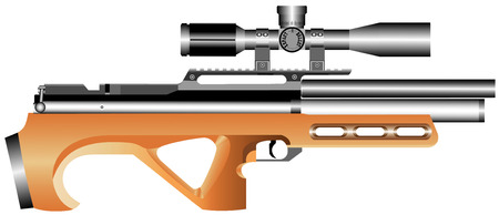 Pneumatic truncated rifle with an telescopic sight  Air gun on white background  Illustration