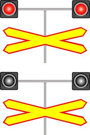 railroad crossing: Railway crossing traffic light  Railway sign and traffic lights at a railroad crossing