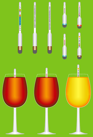 weighted: Glass hydrometers  Set of glass hydrometers  alcohol meter   Set of hydrometers for measurement - Wine, Beer, Brandy, Vodka, Gin and Whiskey  Glasses with wine and whiskeys Illustration