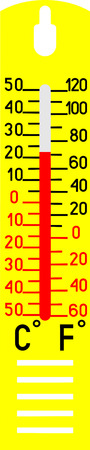 temp: Thermometer measuring hot and cold temperature on white background