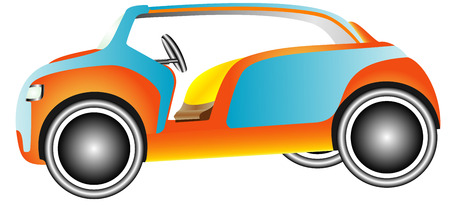 Golf car  Colorful classic golf car on white background Vector