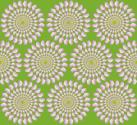 deceptive: Optical illusion rotation of hearts on a circle