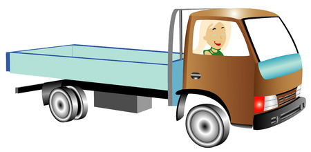 Truck with woman on white background Vector