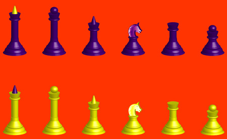 Complete set of chess pieces 3D on a red background Vector