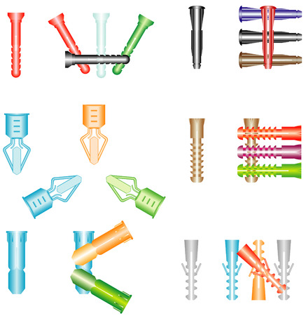 fastening: Dowels in different kind and size
